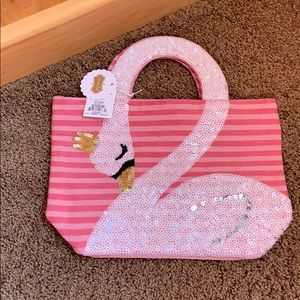 Mud pie swan sequin small tote bag nwt